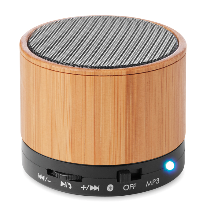 Round Bamboo Bluetooth speake
